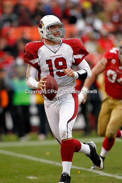 Arizona Cardinals quarterback John Skelton (19) rolls out while looking to pass during the NFL week 17 football game against the San Francisco 49ers on Sunday, January 2, 2011 in San Francisco, California. The 49ers won the game 38-7. (©Paul Anthony Spinelli)