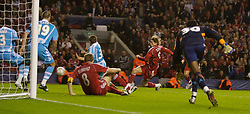 Liverpool, England - Wednesday, October 3, 2007: Liverpool's Fernando Torres sees his shot cleared off the line in injury time against Olympique de Marseille during the UEFA Champions League Group A match at Anfield. (Photo by David Rawcliffe/Propaganda)