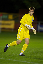 NEWTOWN, WALES - Tuesday, September 14, 2010: England's goalkeeper Dale Roberts (Rushden & Diamonds) in action against Wales during the Under-23 Semi-Pro International Friendly match at Latham Park. (Photo by David Rawcliffe/Propaganda)