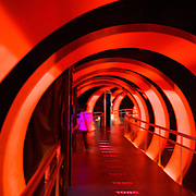 A River Plate fan enters the futureistic tunnel of the museum at River Plates' El Monumental stadium, Buenos Aires, Argentina, 25th June 2010. Photo Tim Clayton..