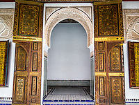 Spectacularly intricate and ornate interior of Bahia Palace, Marrakech, Morocco.