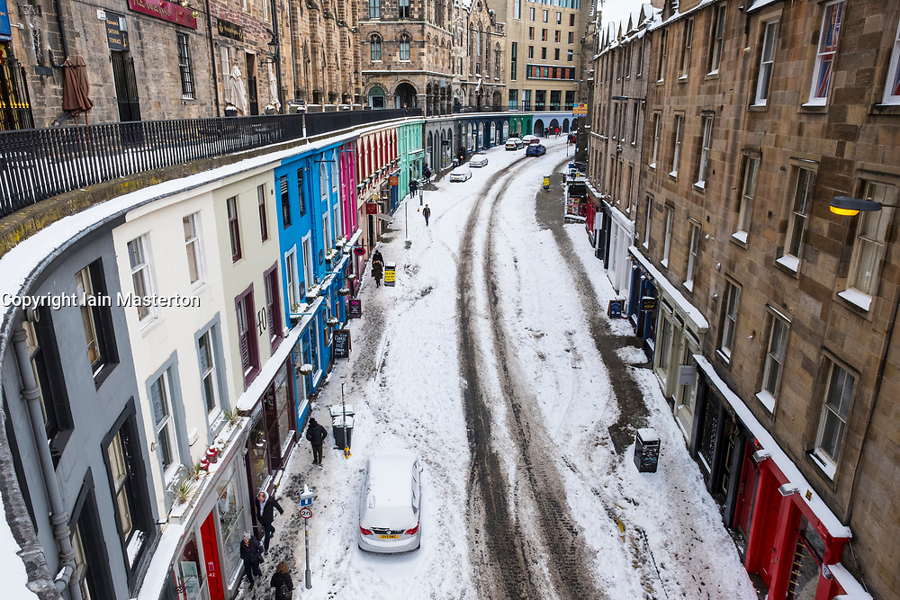 Edinburgh, Scotland, United Kingdom, 1 March, 2018. Heavy snowfalls continue across the city from the storm known as The Beast from the East. Most shops are closed and transport services have been cancelled. Pictured,, Historic Victoria Street covered in snow.