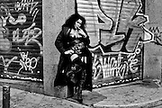 Nereida, a transexual posing in the street while working. Madrid, Spain