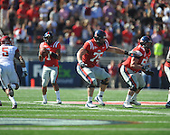 Ole Miss' Matt Hall (75) and Ole Miss' Evan Swindall (56) vs. Arkansas at Vaught-Hemingway Stadium in Oxford, Miss. on Saturday, October 22, 2011. .