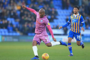 Calvin Andrew shoots during the EFL Sky Bet League 1 match between Shrewsbury Town and Rochdale at Greenhous Meadow, Shrewsbury, England on 17 November 2018.