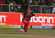 A catch in the deep for the Redbacks during match 11 of the Airtel CLT20 between The South Australian Redbacks and The Royal Challengers Bangalore held at Kingsmead Stadium in Durban on the 17 September 2010..Photo by: Steve Haag/SPORTZPICS/CLT20.