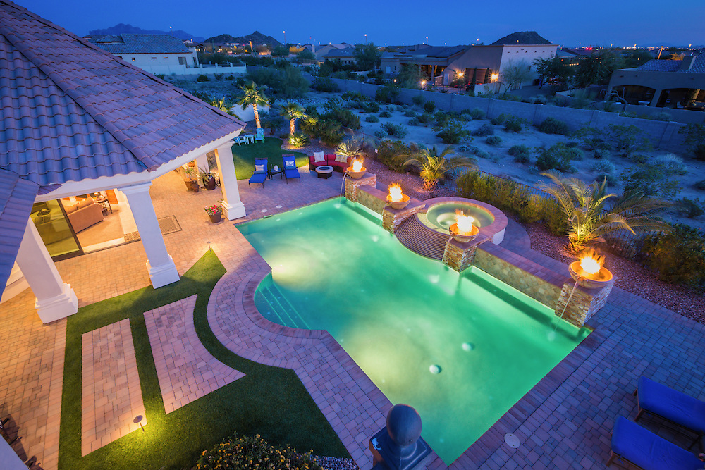 Luxury pool real estate photography in Mesa, Arizona