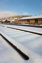 """Snowy Truckee Train Tracks 4"" - Photograph of fresh snow on train tracks in Downtown Truckee, California."