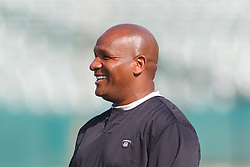 Oct 2, 2011; Oakland, CA, USA; Oakland Raiders head coach Hue Jackson on the sidelines before the game against the New England Patriots at O.co Coliseum. New England defeated Oakland 31-19. Mandatory Credit: Jason O. Watson-US PRESSWIRE