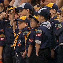 21 December 2008:  Scouts salute during the national anthem prior to kickoff of the  R+L Carriers New Orleans Bowl between Southern Miss and Troy at the New Orleans Superdome in New Orleans, LA.