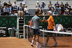 May 22, 2019 - Paris, France - Santiago Giraldo, Gianluca Mager during a match between Santiago Giraldo of COL vs Gianluca Mager of ITA in the second round qualifications of Roland Garros, in Paris, France, on May 22, 2019. (Credit Image: © Ibrahim Ezzat/NurPhoto via ZUMA Press)