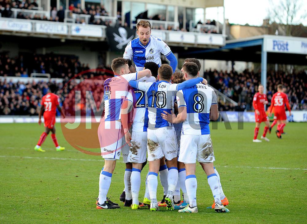 Bristol Rovers celebrate a goal from Billy Bodin - Mandatory by-line: Neil Brookman/JMP - 28/01/2017 - FOOTBALL - Memorial Stadium - Bristol, England - Bristol Rovers v Swindon Town - Sky Bet League One
