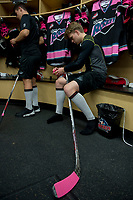 KELOWNA, CANADA - OCTOBER 21: Ted Brennan #10 of the Kelowna Rockets tapes his stick for Pink the Rink fundraiser night for the Canadian Cancer foundation on October 21, 2017 at Prospera Place in Kelowna, British Columbia, Canada.  (Photo by Marissa Baecker/Shoot the Breeze)  *** Local Caption ***