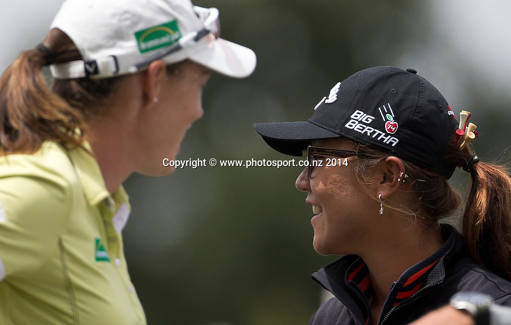NZ women's golf open at Clearwater resort.<br /> Day 2.<br /> Stacey Keating (left) from Australia and Lydia Ko.