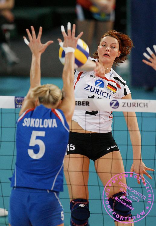 HALLE 18/01/2008.EUROPEAN VOLLEYBALL WOMEN'S OLIMPIC QUALIFICATION.SEMIFINAL.GERMANY v RUSSIA.ANGELINA GRUN /GER/.LIUBOV SOKOLOVA /RUS/.FOT. PIOTR HAWALEJ / WROFOTO