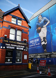 A general view the Dixie Dean banner outside Goodison Park - Mandatory by-line: Matt McNulty/JMP - 19/11/2016 - FOOTBALL - Goodison Park - Liverpool, England - Everton v Swansea City - Premier League