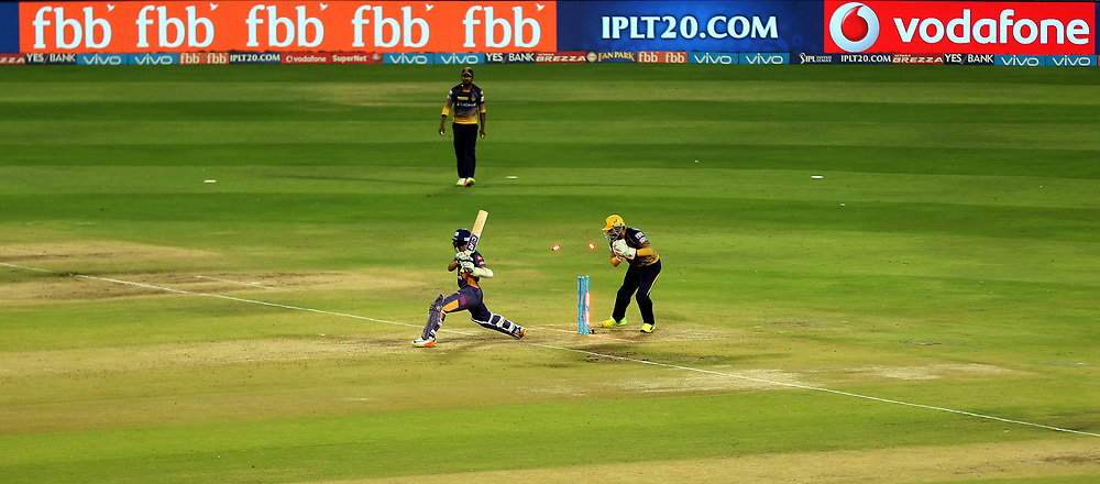 Robin Uthappa of the Kolkata Knight Riders stumps out Ajinkya Rahane of Rising Pune Supergiant during match 30 of the Vivo 2017 Indian Premier League between the Rising Pune Supergiants and the Kolkata Knight Riders  held at the MCA Pune International Cricket Stadium in Pune, India on the 26th April 2017<br /> <br /> Photo by Sandeep Shetty - Sportzpics - IPL
