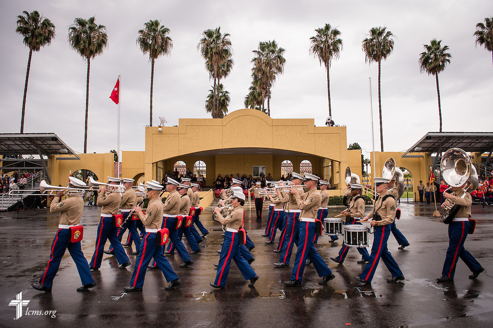 Marine Band San Diego processes in front of the reviewing area during recruit graduation at the Marine Corps Recruit Depot on Friday, Jan. 30, 2015, in San Diego, Calif. LCMS Communications/Erik M. Lunsford