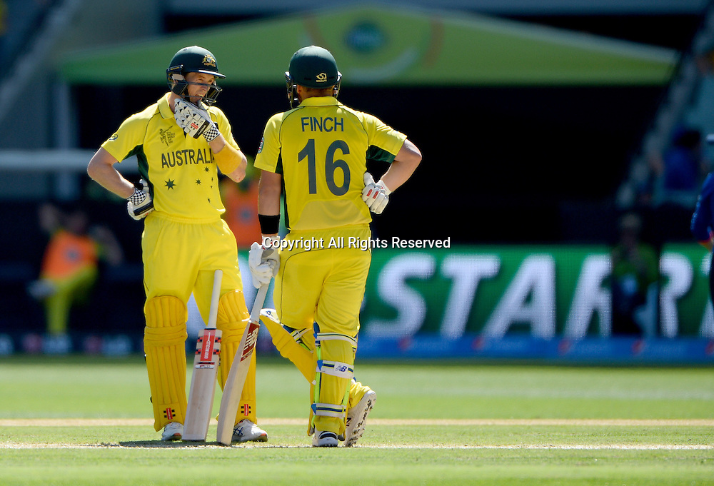 Aaron Finch and George Bailey (AUS)<br /> Australia vs England / Match 2<br /> 2015 ICC Cricket World Cup / Pool A<br /> MCG / Melbourne Cricket Ground <br /> Melbourne Victoria Australia<br /> Saturday 14 February 2015<br /> &copy; Sport the library / Jeff Crow