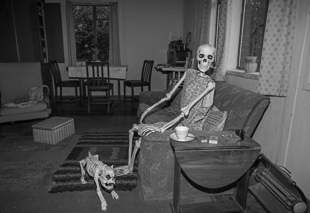 A Halloween display is set up in a post world war home at the Chiltern Open Air Museum in Little Chalfont, England Tuesday, Aug. 25, 2015 (Elizabeth Dalziel) #thesecretlifeofmothers #bringinguptheboys #dailylife