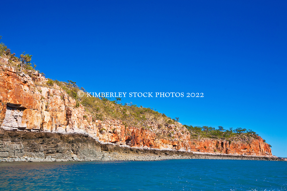 The dramatic red cliffs of the Kimberley coast near Hanover Bay at the mouth of the Prince Regent River.