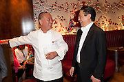 NOBU MATSUHISA; BERNARD HENG , The Tomodachi ( Friends) Charity Dinner hosted by Chef Nobu Matsuhisa in aid of the Japanese Tsunami Appeal. Nobu Park Lane. London. 4 May 2011. <br /> <br />  , -DO NOT ARCHIVE-© Copyright Photograph by Dafydd Jones. 248 Clapham Rd. London SW9 0PZ. Tel 0207 820 0771. www.dafjones.com.