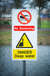 No swimming danger deep water sign, River Soar, Abbey Park, Leicester, England, UK.