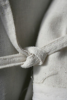Knot tied on fabric cover
