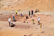 Visitors collect coloured sand at Makhtesh Ramon, Negev, Israel