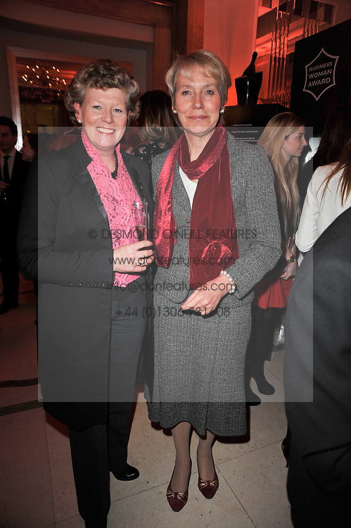Left to right, VIVIENNE COX and BARONESS VIRGINIA BOTTOMLEY at the 38th Veuve Clicquot Business Woman Award held at Claridge's, Brook Street, London W1 on 28th March 2011.