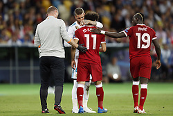 (L-R) Sergio Ramos of Real Madrid, Mohamed Salah of Liverpool FC, Sadio Mane of Liverpool FC during the UEFA Champions League final between Real Madrid and Liverpool on May 26, 2018 at NSC Olimpiyskiy Stadium in Kyiv, Ukraine