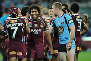 May 25th 2011: Maroons, Sam Thaiday & Johnathan Thurston celebrate winning game 1 of the 2011 State of Origin series at Suncorp Stadium in Brisbane, Australia on May 25, 2011. Photo by Matt Roberts/mattrIMAGES.com.au / QRL