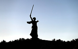 The Motherland Calls statue near the stadium before the FIFA World Cup Group G match at The Volgograd Arena, Volgograd.