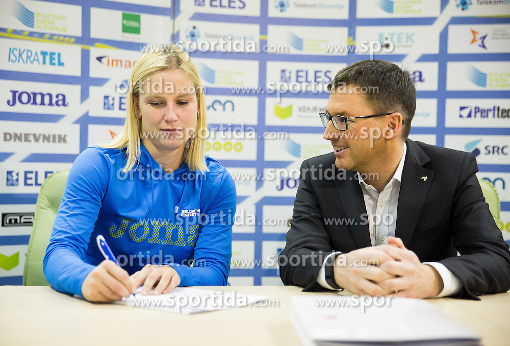 Marina Tomic and Roman Dobnikar during press conference when Slovenian athletes and their coaches sign contracts with Athletic federation of Slovenia for year 2016, on February 25, 2016 in AZS, Ljubljana, Slovenia. Photo by Vid Ponikvar / Sportida