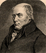 William Smith (1769-1839) English geologist founder of stratigraphical geology.  His insight into geological strata was gained while he was working as a canal surveyor. From 'Life of Sir Roderick I. Murchison' by Archibald Geikie (London, 1875). Engraving