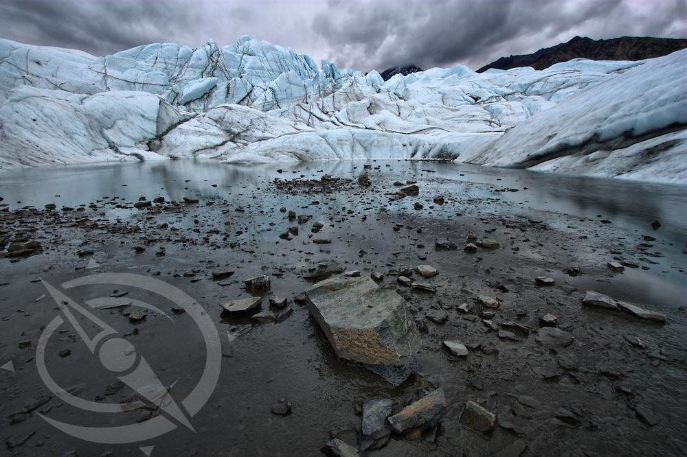 A stormy sky over Mananuska Glacier, Alaska