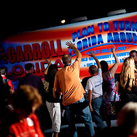 TAMPA, FL -- October 25, 2010 -- Supporters wave good-bye to Republican candidate for governor Rick Scott at a post-debate rally in Tampa, Fla., on Monday, September 25, 2010.  Scott was kicking off his final week of campaigning in the heated race for Florida Governor against Democrat Alex Sink.