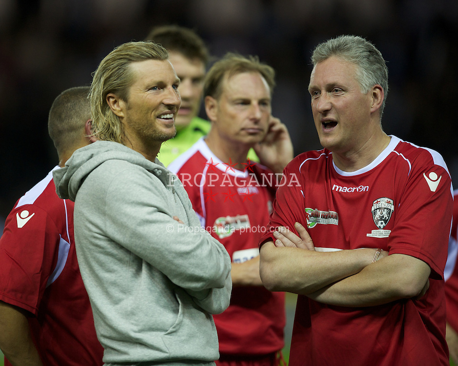 DERBY, ENGLAND - Thursday, September 8, 2011: Wales' Robbie Savage and Lembit Opik during a legends match at Pride Park. (Pic by David Rawcliffe/Propaganda)