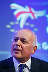 © Licensed to London News Pictures. 10/06/2016. London, UK. Former Work and Pensions Secretary IAIN DUNCAN SMITH speaks at UK in a Changing Europe conference at Queen Elizabeth II Conference Centre in London on Friday, 10 June 2016. Photo credit: Tolga Akmen/LNP