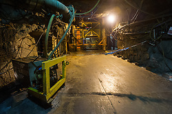 The cage at the bottom of the shaft in Boulby Potash mine