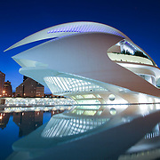 Palace of Arts by dusk (reflection), Valencia, Spain (December 2006)
