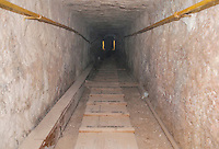 Looking up the shaft leading to the King's Chamber in the Great Pyramid, Giza, Egypt.