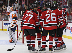 Apr 10, 2010; Newark, NJ, USA; The New Jersey Devils celebrate a goal by New Jersey Devils left wing Patrik Elias (26) during the third period at the Prudential Center. The Devils defeated the Islanders 7-1.