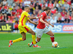 Bristol City's Luke Ayling battles for the ball with Milton Keynes Dons' Dele Alli  - Photo mandatory by-line: Joe Meredith/JMP - Mobile: 07966 386802 - 27/09/2014 - SPORT - Football - Bristol - Ashton Gate - Bristol City v MK Dons - Sky Bet League One