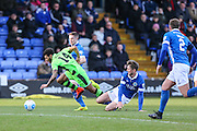 Forest Green Rovers Kaiyne Woolery(14) is brought down by Macclesfield's Neill Byrne during the FA Trophy match between Macclesfield Town and Forest Green Rovers at Moss Rose, Macclesfield, United Kingdom on 4 February 2017. Photo by Shane Healey.