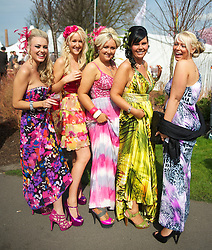 LIVERPOOL, ENGLAND - Friday, April 9, 2010: Liverpool girls attend Ladies' Day during the second day of the Grand National Festival at Aintree Racecourse. (Pic by David Rawcliffe/Propaganda)