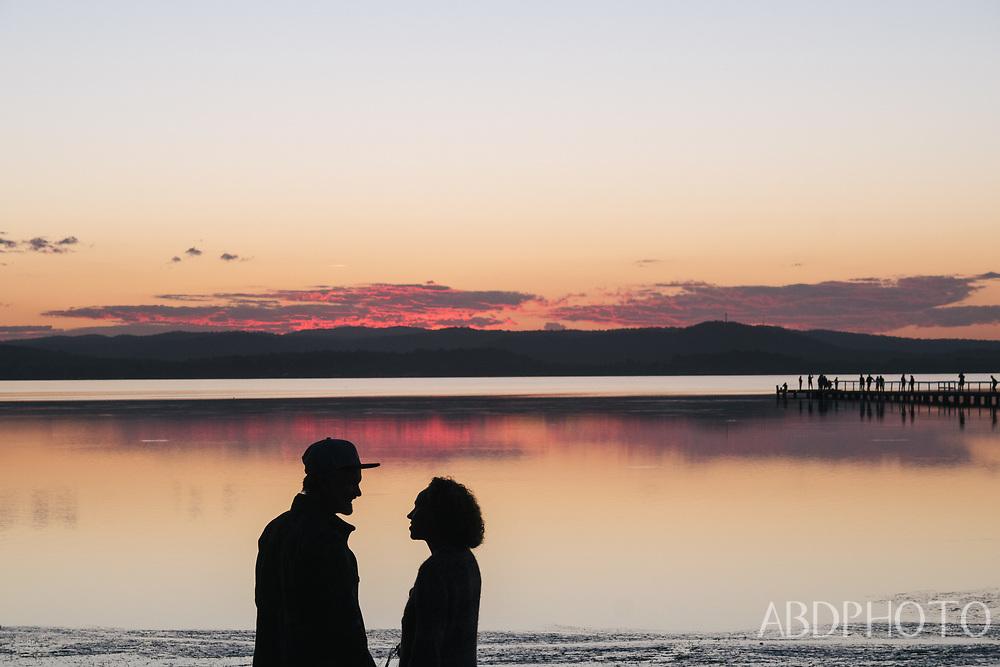 Long Jetty Central Coast Australia sunset on the lake