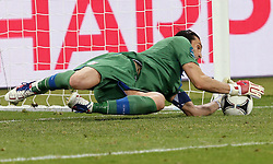 Italian Goal Keeper Gianluigi Buffon saves the ball during the penalty shoot out during Italy V England Quarter-finals in the Euro 2012, Sunday June 24, 2012, in Kiev, Ukraine. Photo By Imago/i-Images