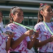 March 7, 2015, Indian Wells, California:<br /> Kids recite the John Wooden Sportsmanship pledge during Kids Day at the Indian Wells Tennis Garden in Indian Wells, California Saturday, March 7, 2015.<br /> (Photo by Billie Weiss/BNP Paribas Open)