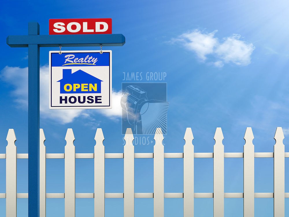 A realestate sign showing the house as sold on a Blue Sky and white picket fence background